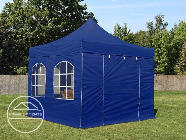 3x3m PES PopUp Gazebo / Canopy PREMIUM Steel incl. Sidewalls, with Windows, blue