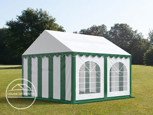 3x4m Marquee / Party Tent w. Groundbar, PVC 500 g/m², green-white