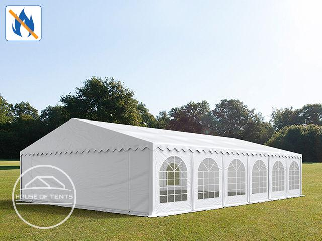 8x12m Marquee / Party Tent w. Groundbar, PVC 500 g/m² fire resistant, white