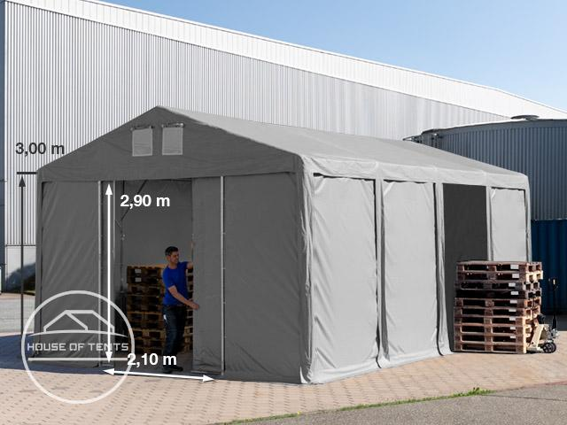 5x8m 3.0m Sides Storage Tent / Shelter w. Groundbar and sliding door, PVC 550 g/m² grey | without statics