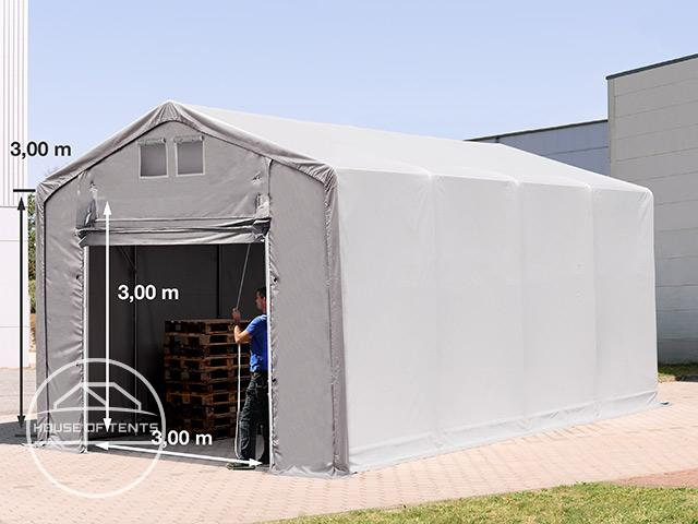 4x8m - 3.0m Sides PVC Industrial Tent with pull-up gate, PVC 550 g/m² grey | without statics