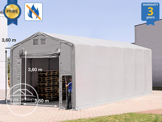6x12m - 3.6m Sides Industrial Tent with pull-up gate, PVC 720 g/m² fire resistant grey | without statics
