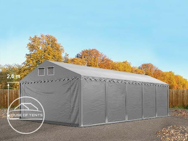 5x10m 2.6m Sides Storage Tent / Shelter w. Groundbar, marquee PVC grey | without statics