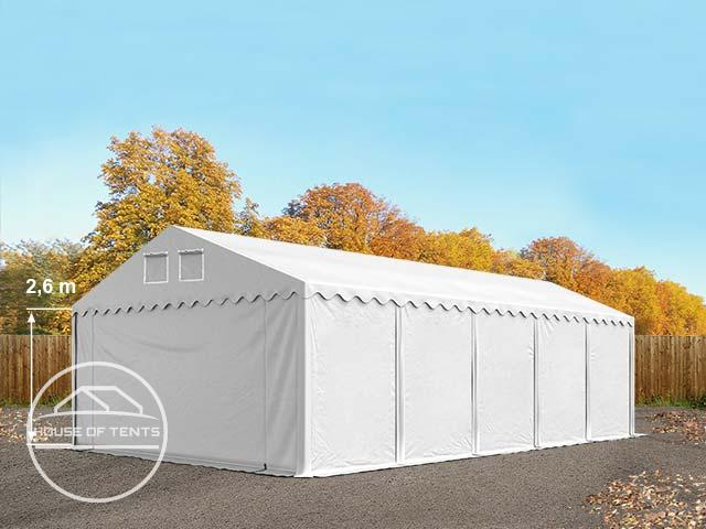 5x10m 2.6m Sides Storage Tent / Shelter w. Groundbar, PVC 550 g/m² white | without statics