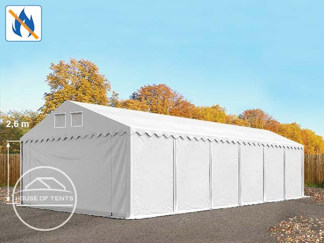 6x12m 2.6m Sides Storage Tent / Shelter w. ground frame, PVC 550 g/m² fire resistant white | without statics