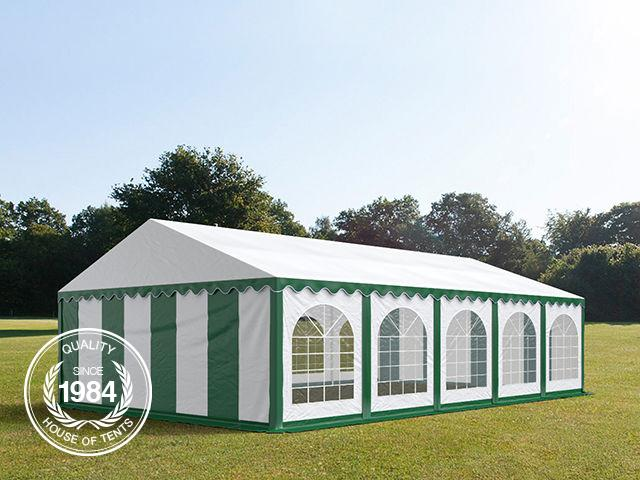 6x10m Marquee / Party Tent w. Groundbar, PVC 500 g/m², green-white