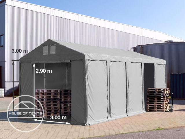 4x10m 3.0m Sides Storage Tent / Shelter w. Groundbar and zipper entrance, PVC 550 g/m²