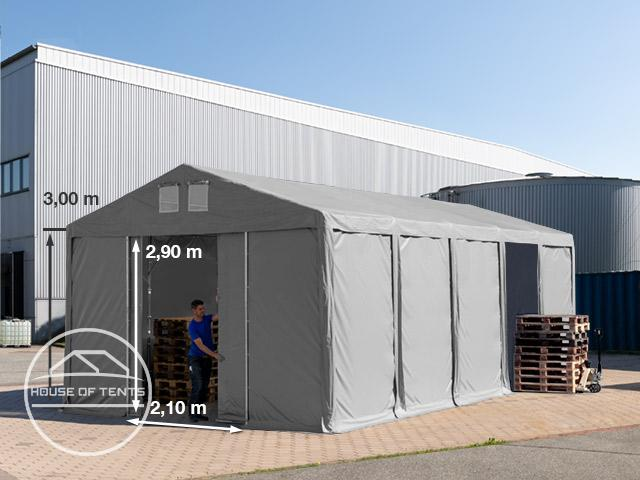 5x10m 3.0m Sides Storage Tent / Shelter w. Groundbar and sliding door, PVC 550 g/m²