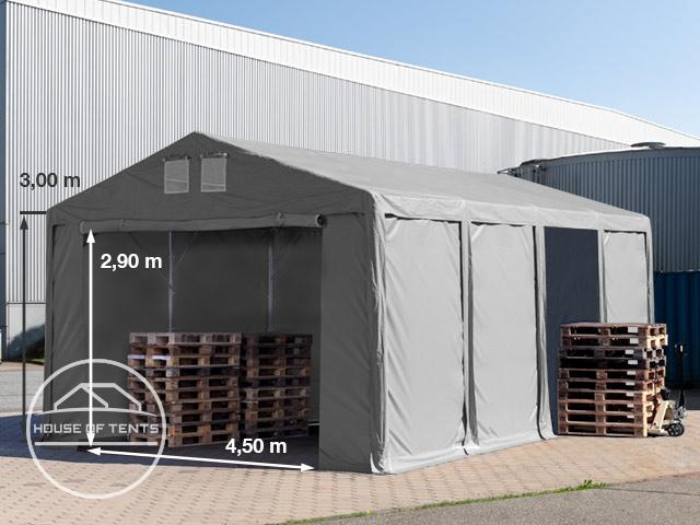 6x8m 3.0m Sides Storage Tent / Shelter w. Groundbar and zipper entrance, PVC 550 g/m²