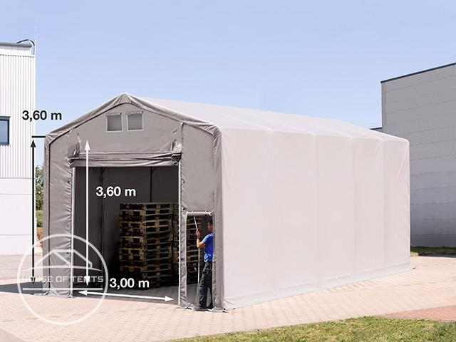 5x10m - 3.6m Sides PVC Industrial Tent with pull-up gate, PVC 550 g/m²