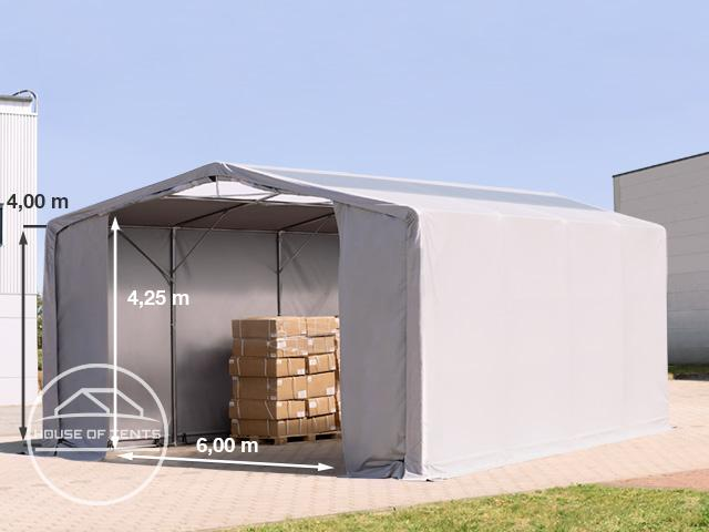 8x8m - 4.0m Sides PVC Industrial Tent with zipper entrance and skylights, PVC 550 g/m²