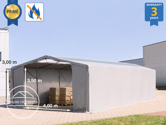8x12m - 3.0m Sides Industrial Tent with zipper entrance and skylights, PVC 720 g/m² fire resistant