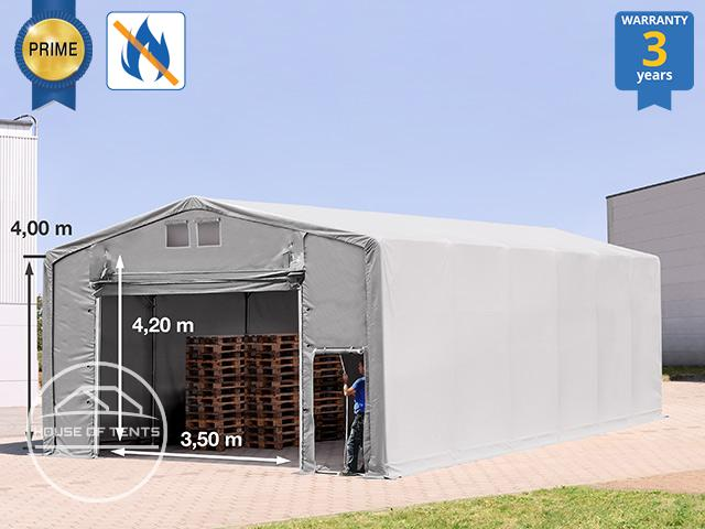 8x16m - 4.0m Sides Industrial Tent with pull-up gate, PVC 720 g/m² fire resistant