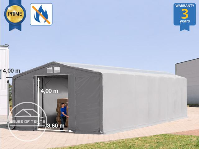 8x16m - 4.0m Sides Industrial Tent with sliding door and skylights, PVC 720 g/m² fire resistant