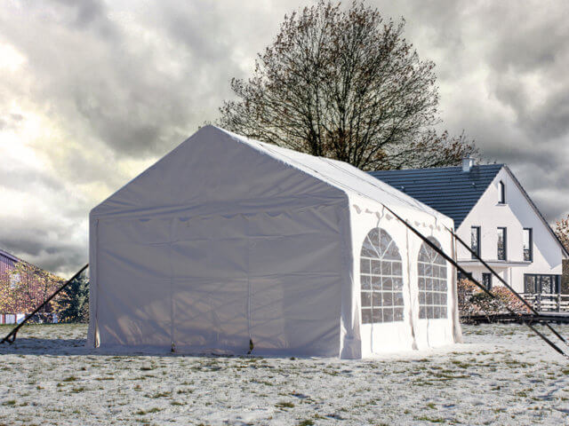 A marquee with tie down straps
