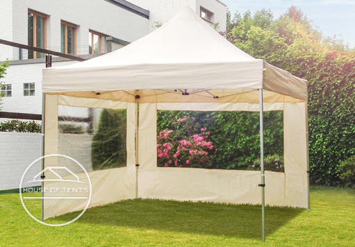 A pop up gazebo with 2 sides featuring panorama windows