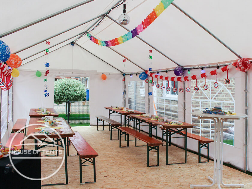 A marquee is decorated, ready for the birthday kids.