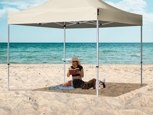 Enjoy both sun and shade at the beach with a pop up gazebo