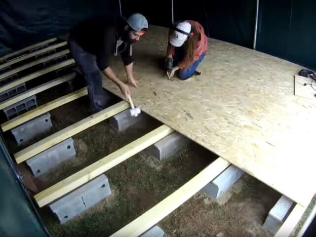 Laying a chipborad floor on top of joists supported by concrete blocks